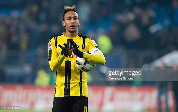 PierreEmerick Aubameyang of Borussia Dortmund celebrates the win after the final whistle during the Bundesliga match between Hamburger SV and...