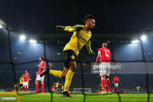 PierreEmerick Aubameyang of Borussia Dortmund celebtares scoring a goal during the UEFA Champions League Round of 16 second leg match between...
