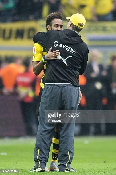 PierreEmerick Aubameyang of Borussia Dortmund coach Jurgen Klopp of Borussia Dortmund during the Bundesliga match between Borussia Dortmund and...