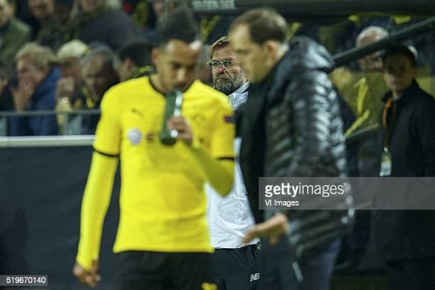 PierreEmerick Aubameyang of Borussia Dortmund coach Jurgen Klopp of Liverpool FC coach Thomas Tuchel of Borussia Dortmund during the UEFA Europa...