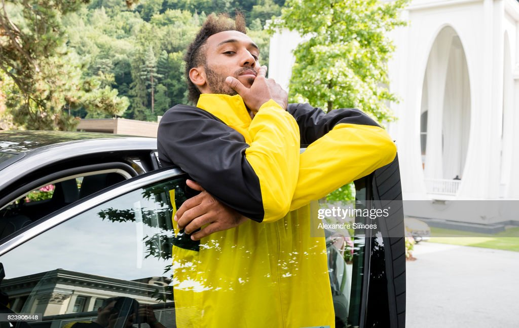 Pierre-Emerick Aubameyang of Borussia Dortmund during a game called 'Quiz Taxi' for the sponsor Opel as part of the training camp on July 27, 2017 in Bad Ragaz, Switzerland.