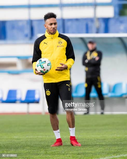 PierreEmerick Aubameyang of Borussia Dortmund has his first training session during the training camp at the Estadio Municipal de Marbella on January...