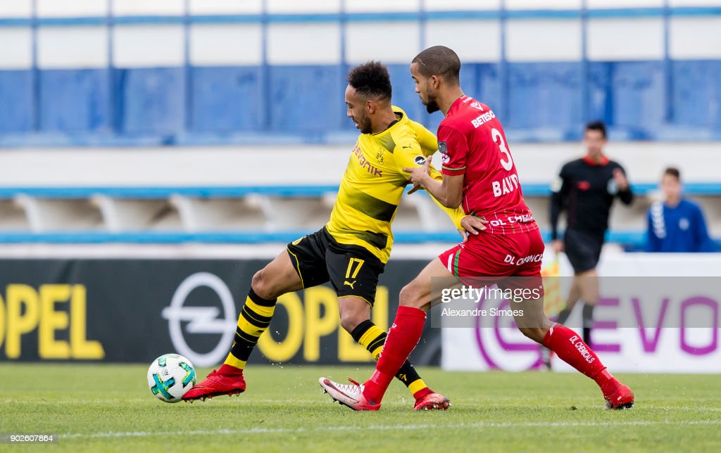 Pierre-Emerick Aubameyang of Borussia Dortmund in action during a friendly match between Borussia Dortmund and SV Zulte Waregem as part of the training camp at the Estadio Municipal de Marbella on January 08, 2018 in Marbella, Spain.