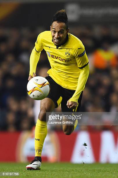 PierreEmerick Aubameyang of Borussia Dortmund in action during the UEFA Europa League round of 16 second leg match between Tottenham Hotspur and...