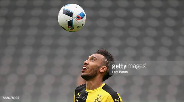 PierreEmerick Aubameyang of Borussia Dortmund in action during the Borussia Dortmund training session at Olympiastadion on May 20 2016 in Berlin...