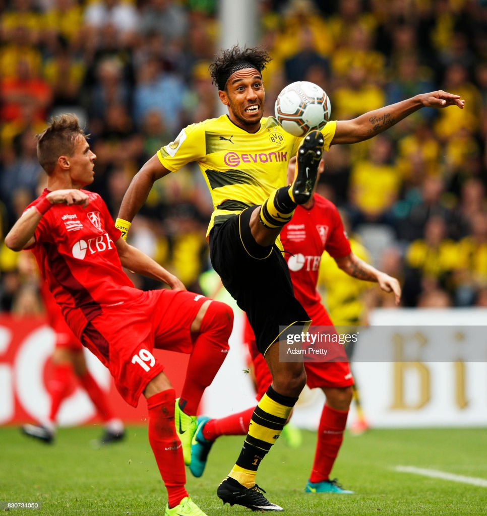 Pierre-Emerick Aubameyang of Borussia Dortmund in action during the DFB Cup match between 1. FC Rielasingen-Arlen and Borussia Dortmund at Schwarzwald-Stadion on August 12, 2017 in Freiburg im Breisgau, Germany.