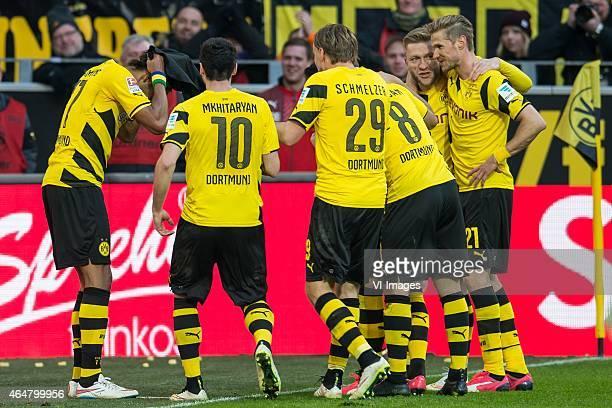 PierreEmerick Aubameyang of Borussia Dortmund is putting his mask on during the Bundesliga match between Borussia Dortmund and Schalke 04 on February...