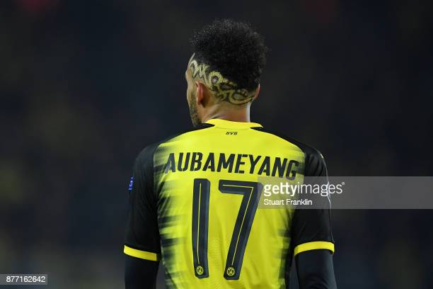 PierreEmerick Aubameyang of Borussia Dortmund looks on during the UEFA Champions League group H match between Borussia Dortmund and Tottenham Hotspur...