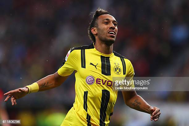 PierreEmerick Aubameyang of Borussia Dortmund reacts after a missed chance on goal during the Bundesliga match between Bayer 04 Leverkusen and...