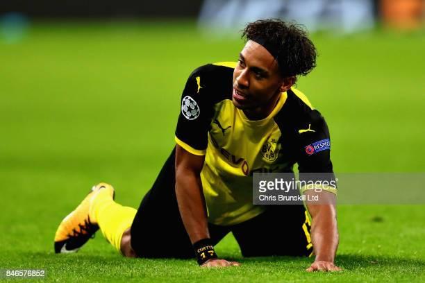 PierreEmerick Aubameyang of Borussia Dortmund reacts during the UEFA Champions League group H match between Tottenham Hotspur and Borussia Dortmund...