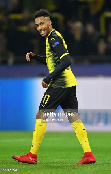 PierreEmerick Aubameyang of Borussia Dortmund reacts during the UEFA Champions League group H match between Borussia Dortmund and Tottenham Hotspur...