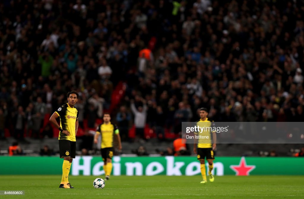 Pierre-Emerick Aubameyang of Borussia Dortmund reacts to Tottenham Hotspur scoring their sides first goal during the UEFA Champions League group H match between Tottenham Hotspur and Borussia Dortmund at Wembley Stadium on September 13, 2017 in London, United Kingdom.