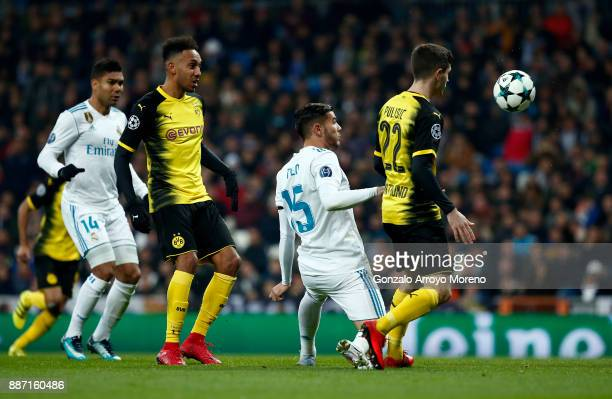 PierreEmerick Aubameyang of Borussia Dortmund scores his sides second goal during the UEFA Champions League group H match between Real Madrid and...