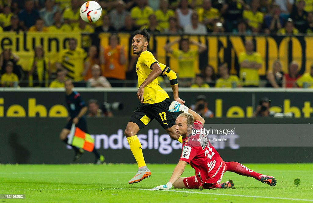 Pierre-Emerick Aubameyang of Borussia Dortmund scores the goal to the 2:0 during the UEFA Europa League: Third Qualifying Round 2nd Leg match between Borussia Dortmund and Wolfsberg at Signal Iduna Park on August 06, 2015 in Dortmund, Germany.