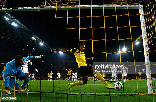 Pierre-Emerick Aubameyang of Borussia Dortmund scores their first goal during the UEFA Champions League Group F match between Borussia Dortmund and...