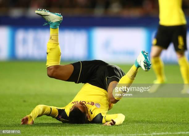 PierreEmerick Aubameyang of Borussia Dortmund takes a tumble during the UEFA Champions League Quarter Final second leg match between AS Monaco and...