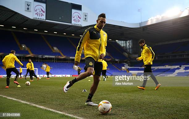 PierreEmerick Aubameyang of Borussia Dortmund takes part in a drill during a training session ahead of the UEFA Europa League round of 16 second leg...