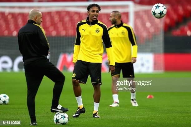 PierreEmerick Aubameyang of Borussia Dortmund trains during a Borussia Dortmund press conference ahead of their UEFA Champions League Group H match...