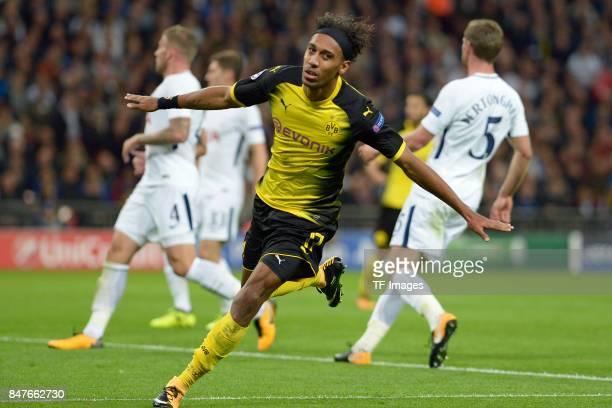 PierreEmerick Aubameyang of celebrate a goal during the UEFA Champions League group H match between Tottenham Hotspur and Borussia Dortmund at...