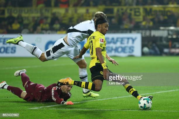 PierreEmerick Aubameyang of Dortmund about to score his teams fifth goal to make it 50 during the Bundesliga match between Borussia Dortmund and...