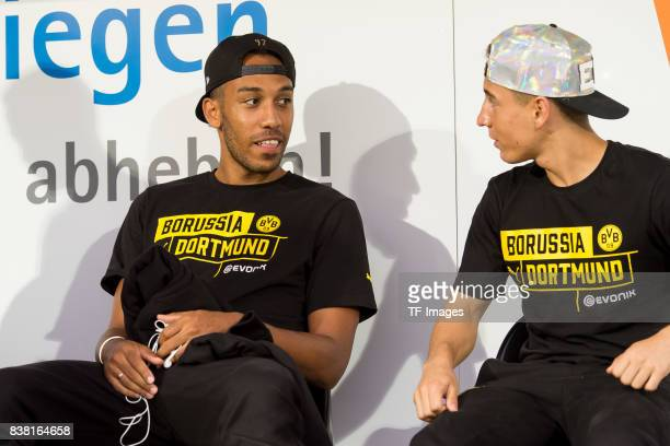 PierreEmerick Aubameyang of Dortmund and Emre Mor of Dortmund sits on the bench during a friendly match between Borussia Dortmund and Atalanta...