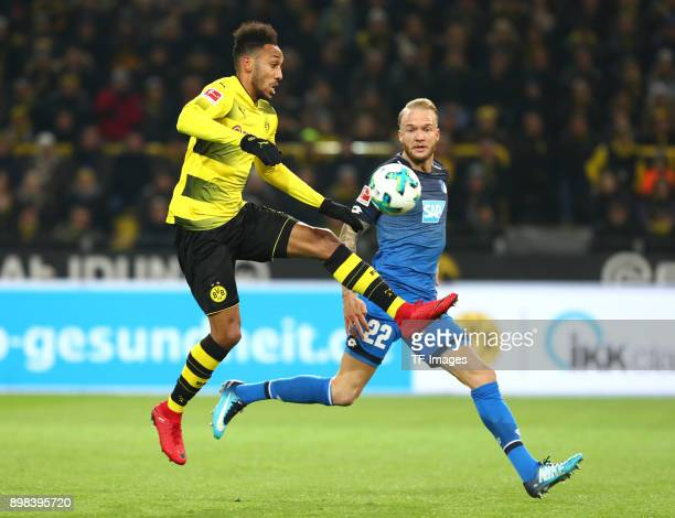 PierreEmerick Aubameyang of Dortmund and Kevin Vogt of Hoffenheim battle for the ball during the Bundesliga match between Borussia Dortmund and TSG...