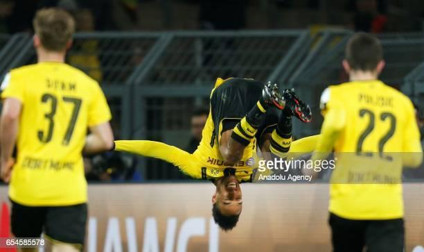 DORTMUND GERMANY MARCH 17 PierreEmerick Aubameyang of Dortmund celebrates a goal against Ingolstadt during the Bundesliga soccer match between...