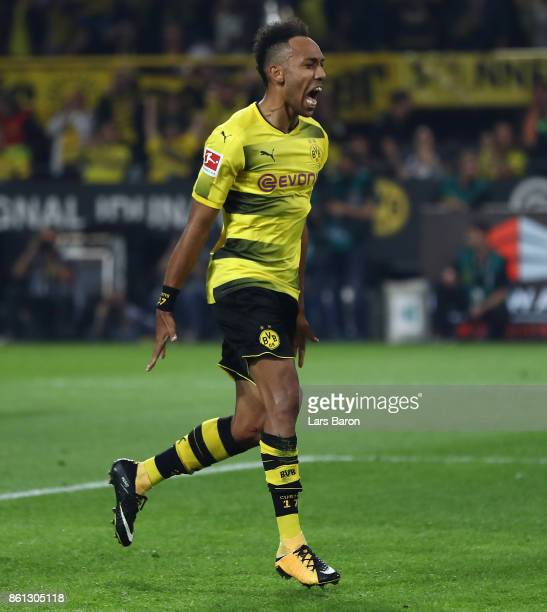 PierreEmerick Aubameyang of Dortmund celebrates after he scored a penalty goal to make it 23 during the Bundesliga match between Borussia Dortmund...