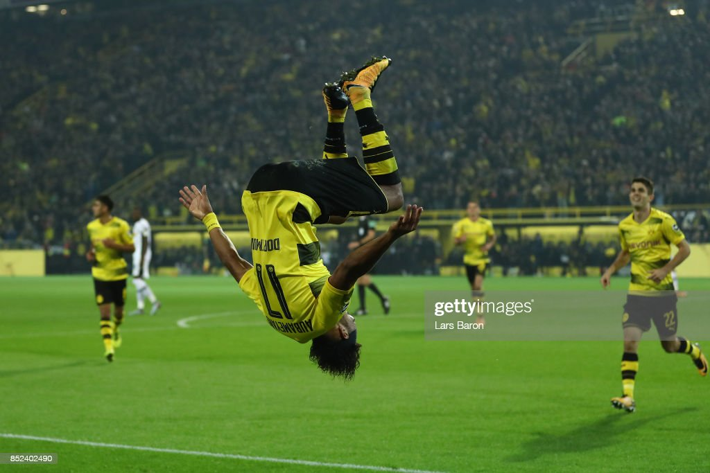 Pierre-Emerick Aubameyang of Dortmund celebrates after he scored his teams fifth goal to make it 5:0 during the Bundesliga match between Borussia Dortmund and Borussia Moenchengladbach at Signal Iduna Park on September 23, 2017 in Dortmund, Germany.