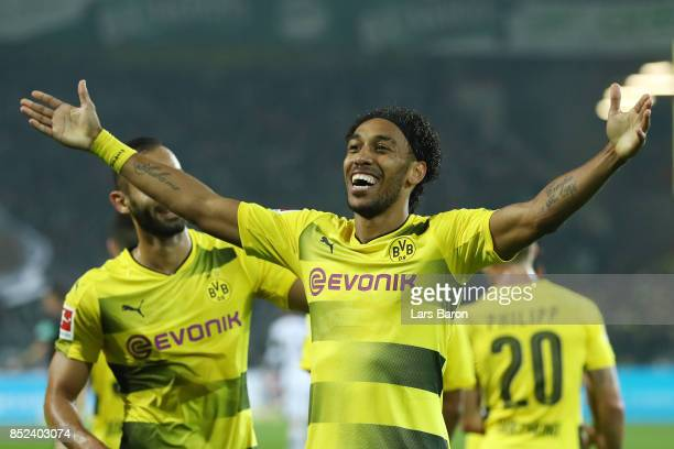 PierreEmerick Aubameyang of Dortmund celebrates after he scored his teams fifth goal to make it 50 during the Bundesliga match between Borussia...
