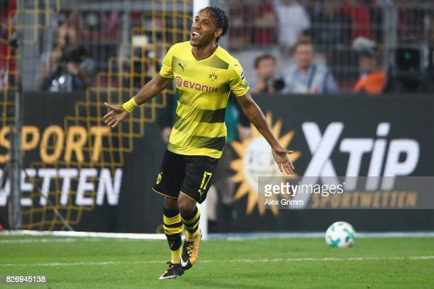 PierreEmerick Aubameyang of Dortmund celebrates after his penalty during the penalty shootout of the DFL Supercup 2017 match between Borussia...
