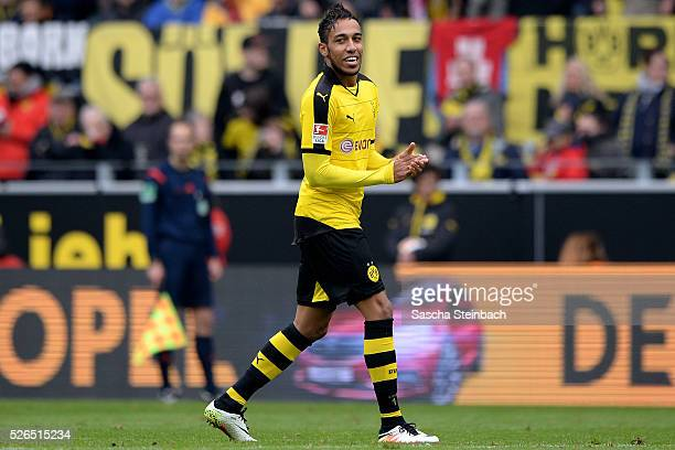 PierreEmerick Aubameyang of Dortmund celebrates after scoring his team's fifth goal during the Bundesliga match between Borussia Dortmund and VfL...