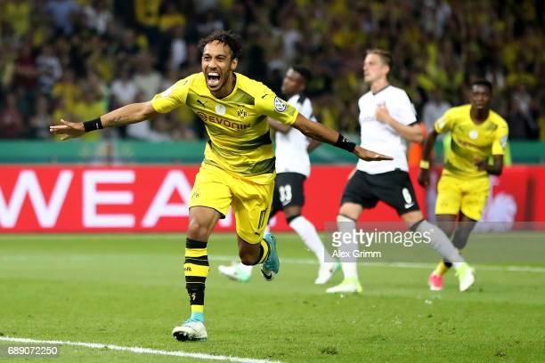 PierreEmerick Aubameyang of Dortmund celebrates after scoring his team's second goal from the penalty spot during the DFB Cup final match between...