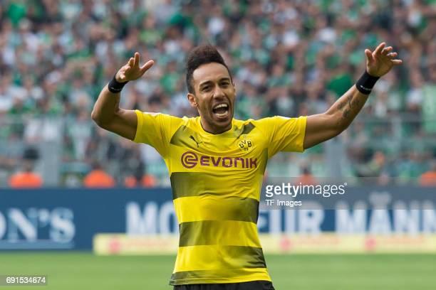 PierreEmerick Aubameyang of Dortmund celebrates after scoring his team`s goal during the Bundesliga match between Borussia Dortmund and Werder Bremen...