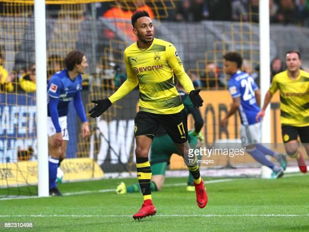 PierreEmerick Aubameyang of Dortmund celebrates after scoring his team`s first goal during the Bundesliga match between Borussia Dortmund and FC...