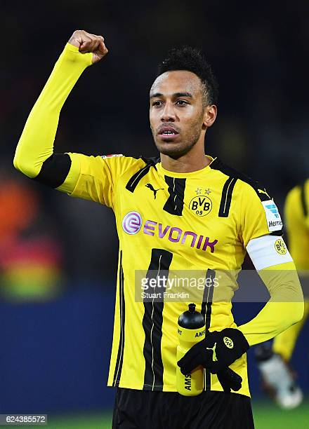 PierreEmerick Aubameyang of Dortmund celebrates at the end of the Bundesliga match between Borussia Dortmund and Bayern Muenchen at Signal Iduna Park...