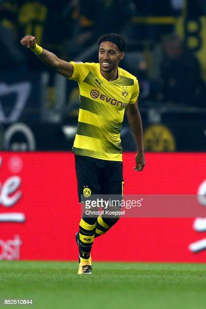 PierreEmerick Aubameyang of Dortmund celebrates his first goal during the Bundesliga match between Borussia Dortmund and Borussia Moenchengladbach at...
