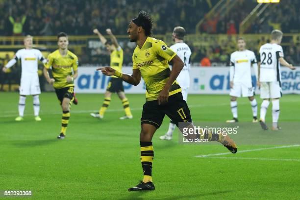 PierreEmerick Aubameyang of Dortmund celebrates his goal to make it 40 during the Bundesliga match between Borussia Dortmund and Borussia...
