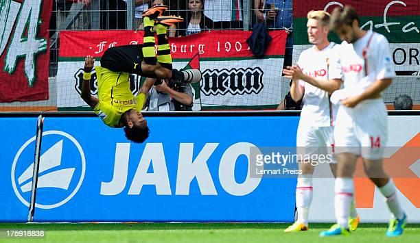 PierreEmerick Aubameyang of Dortmund celebrates his opening goal during the Bundesliga match between FC Augsburg and Borussia Dortmund at SGL Arena...