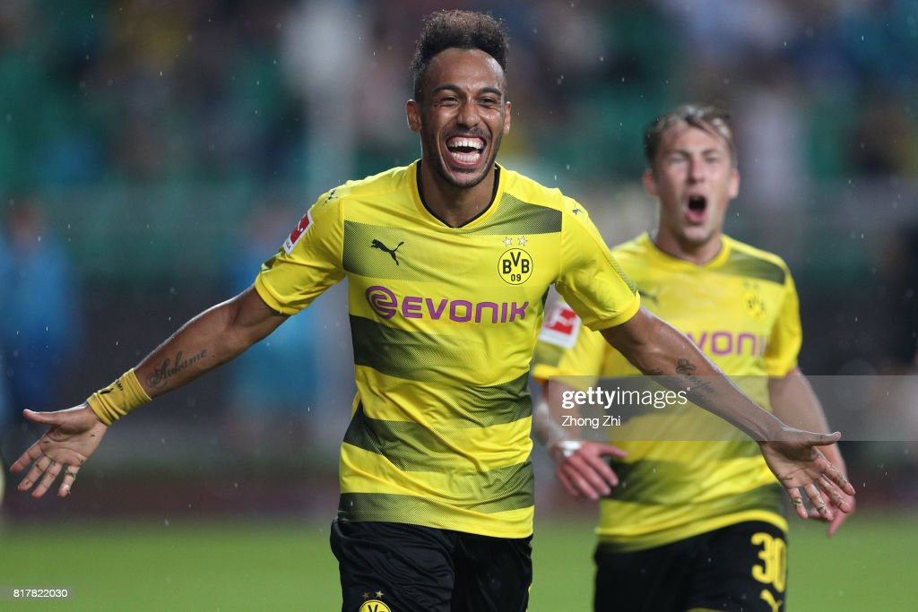 Pierre-Emerick Aubameyang of Dortmund celebrates his second goal during the 2017 International Champions Cup football match between AC Milan and Borussia Dortmund at University Town Sports Centre Stadium on July 18, 2017 in Guangzhou, China.