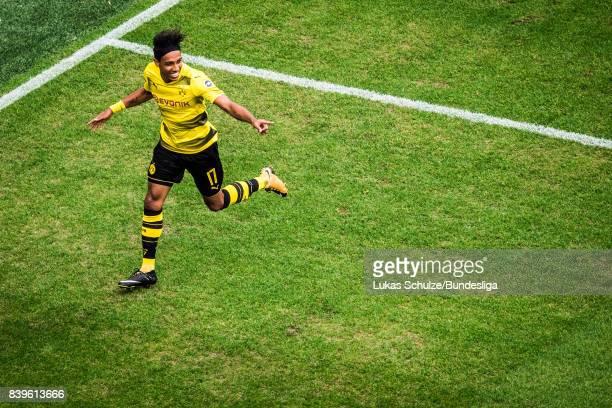 PierreEmerick Aubameyang of Dortmund celebrates his teams first goal during the Bundesliga match between Borussia Dortmund and Hertha BSC at Signal...