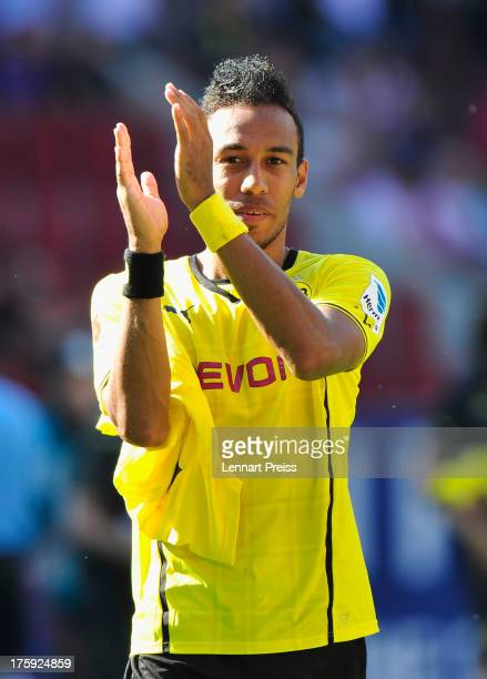 PierreEmerick Aubameyang of Dortmund celebrates the victory after the Bundesliga match between FC Augsburg and Borussia Dortmund at SGL Arena on...