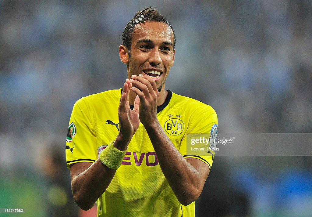 Pierre-Emerick Aubameyang of Dortmund celebrates the victory after the DFB Cup match between TSV 1860 Muenchen and Borussia Dortmund at Allianz Arena on September 24, 2013 in Munich, Germany.