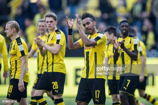 PierreEmerick Aubameyang of Dortmund celebrates with his teammates after the Bundesliga match between Borussia Dortmund and TSG 1899 Hoffenheim at...