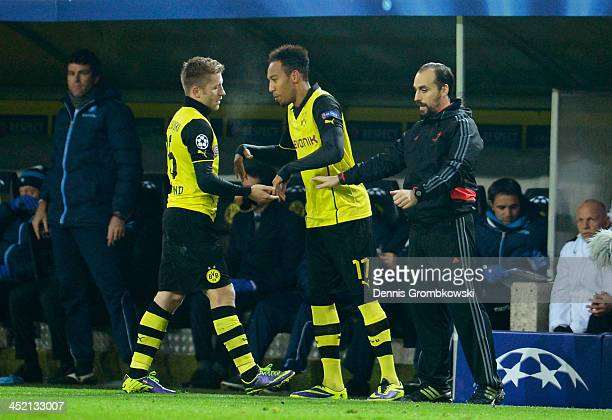 PierreEmerick Aubameyang of Dortmund comes on as a substitute for Jakub Blaszczykowski of Dortmund during the UEFA Champions League Group F match...