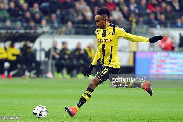 PierreEmerick Aubameyang of Dortmund controles the ball during the Bundesliga match between Eintracht Frankfurt and Borussia Dortmund at...