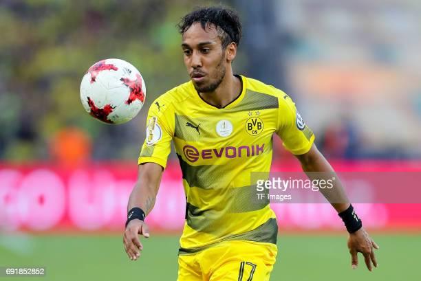 PierreEmerick Aubameyang of Dortmund controls the ball during the DFB Cup final match between Eintracht Frankfurt and Borussia Dortmund at...