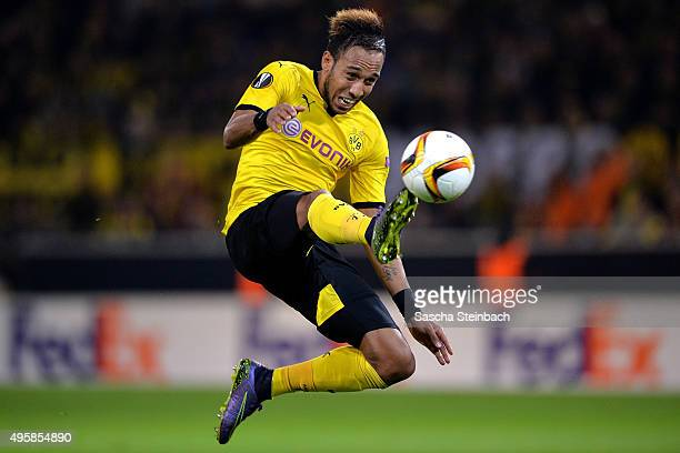 PierreEmerick Aubameyang of Dortmund controls the ball during the UEFA Europa League group stage match between Borussia Dortmund and Qabala FK at...