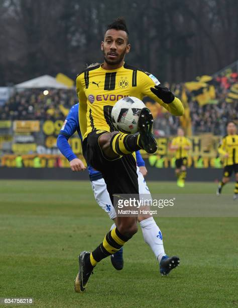PierreEmerick Aubameyang of Dortmund controls the ball during the Bundesliga match between SV Darmstadt 98 and Borussia Dortmund at Stadion am...