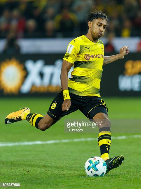 PierreEmerick Aubameyang of Dortmund controls the ball Elfmeter during the DFL Supercup 2017 match between Borussia Dortmund and Bayern Muenchen at...